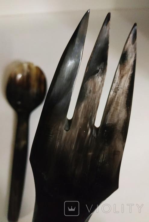 Столовый прибор ложка и вилка из кости., фото №10