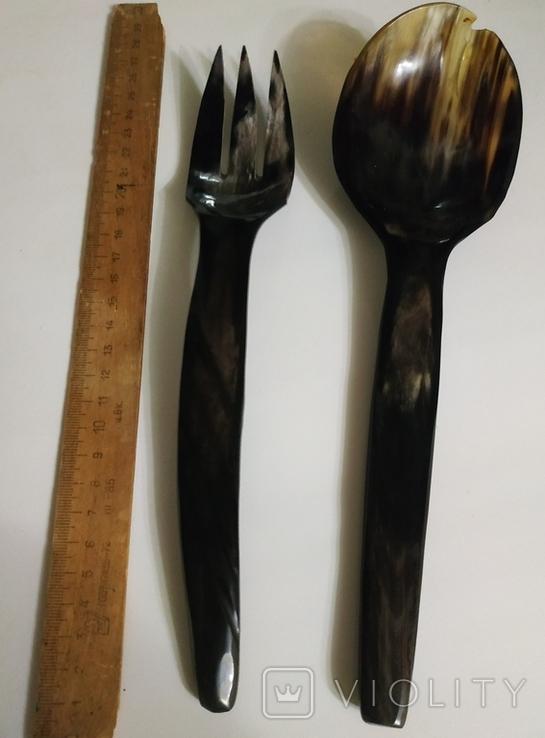 Столовый прибор ложка и вилка из кости., фото №12