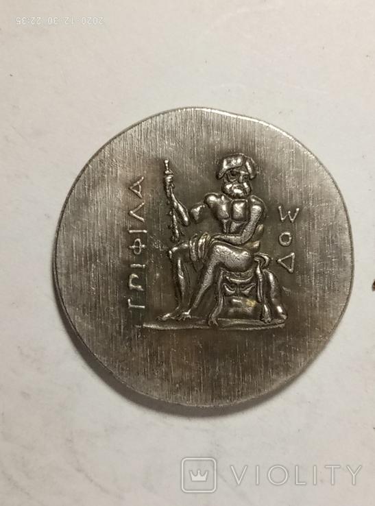 Древняя Греция копия монеты посеребренная г85, фото №3