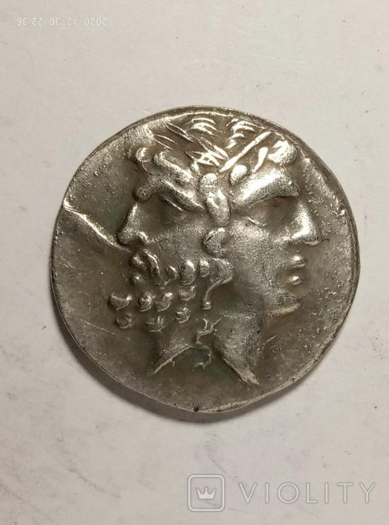 Древняя Греция копия монеты посеребренная г86, фото №2