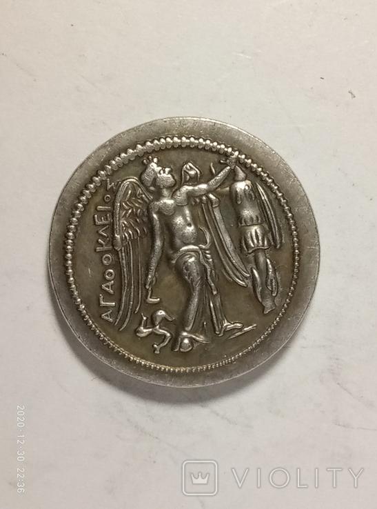 Древняя Греция копия монеты посеребренная г87, фото №3