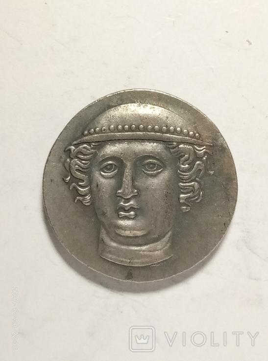 Древняя Греция копия монеты посеребренная г88, фото №2