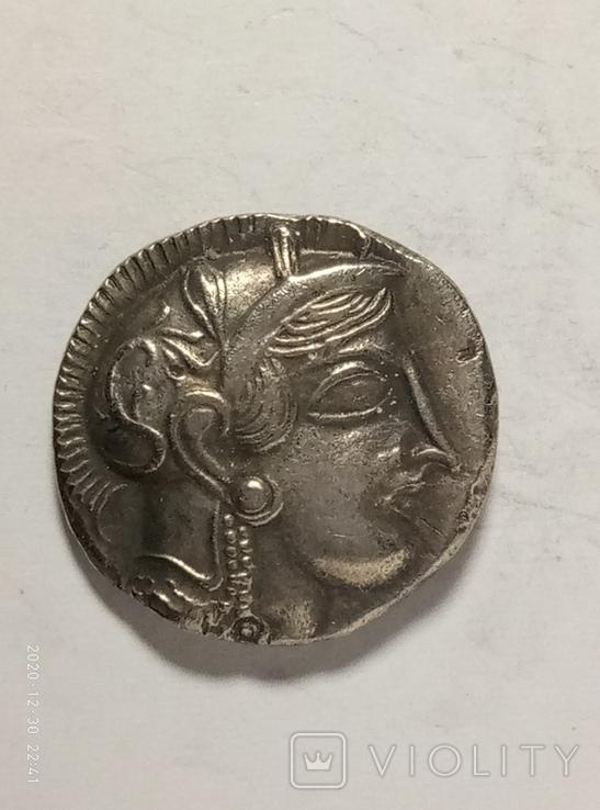Древняя Греция копия монеты посеребренная г97, фото №3
