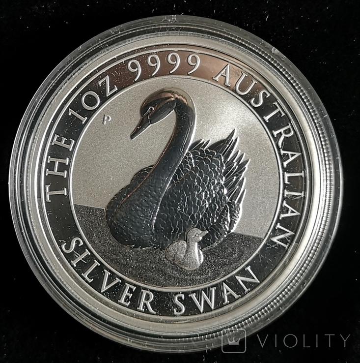 Австралия 1 доллар 2018 г. Лебедь серебро 1 унция 999 пробы, фото №2