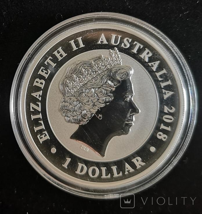 Австралия 1 доллар 2018 г. Лебедь серебро 1 унция 999 пробы, фото №3