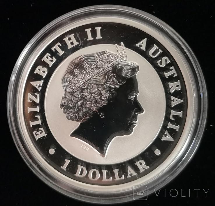 Австралия 1 доллар 2018 г. Эму серебро 1 унция 999 пробы, фото №3