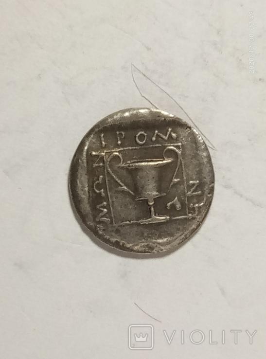 Древняя Греция копия монеты посеребренная г102, фото №2