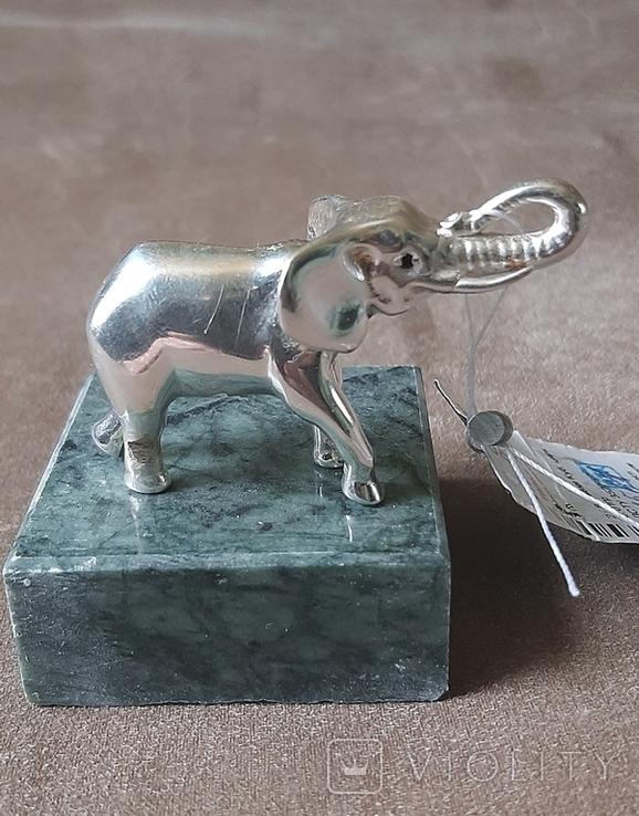 Статуэтка фигурка миниатюра серебро серебряная Слоник, фото №3