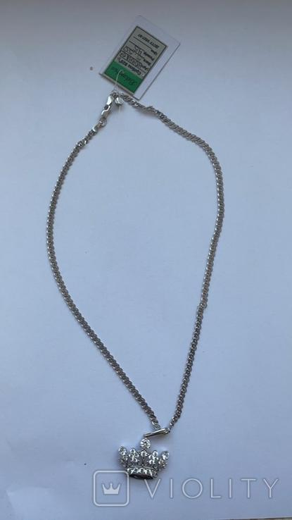 Серебряная цепочка с золотой короной, фото №3