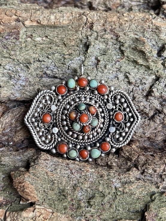 Старый серебряный кулон с бирюзой , кораллом и элементами зерни, фото №5