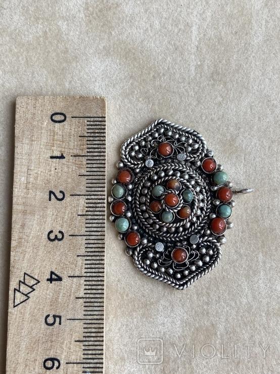 Старый серебряный кулон с бирюзой , кораллом и элементами зерни, фото №6