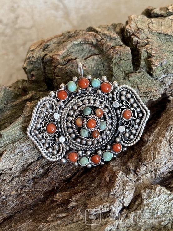 Старый серебряный кулон с бирюзой , кораллом и элементами зерни, фото №2