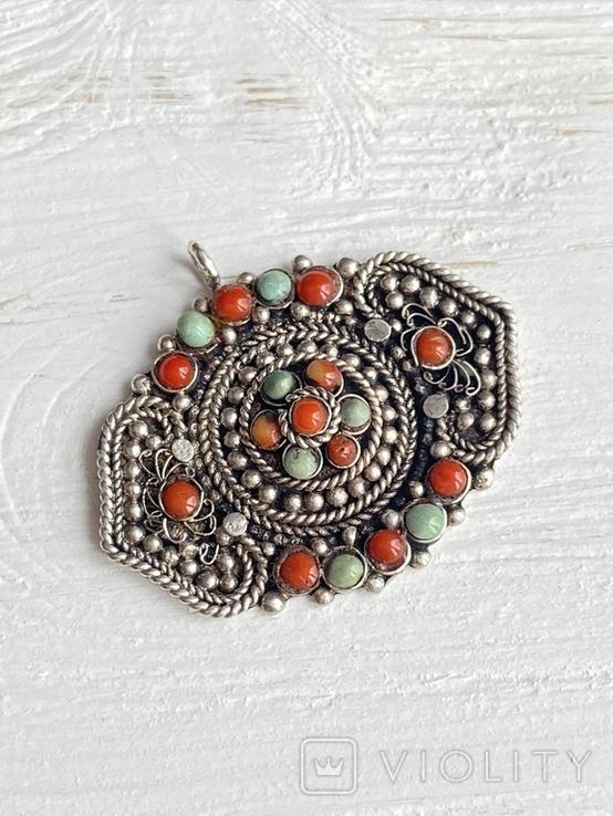 Старый серебряный кулон с бирюзой , кораллом и элементами зерни, фото №11