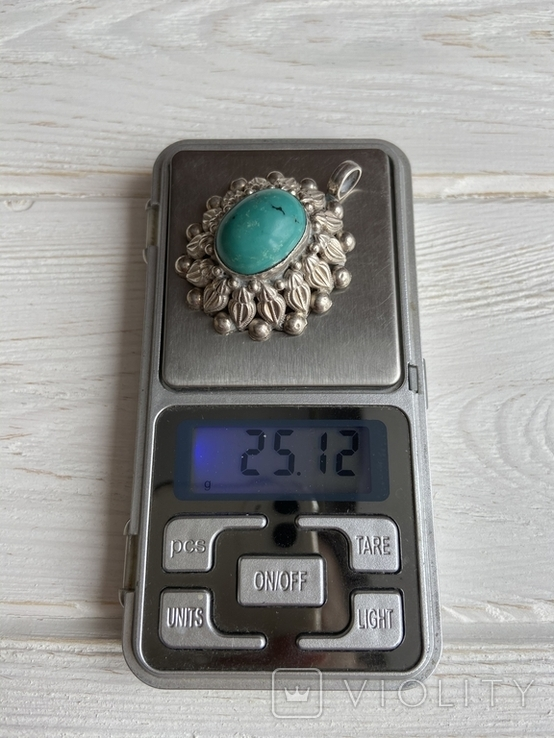 Винтажный серебряный массивный кулон со вставкой бирюзы, фото №10