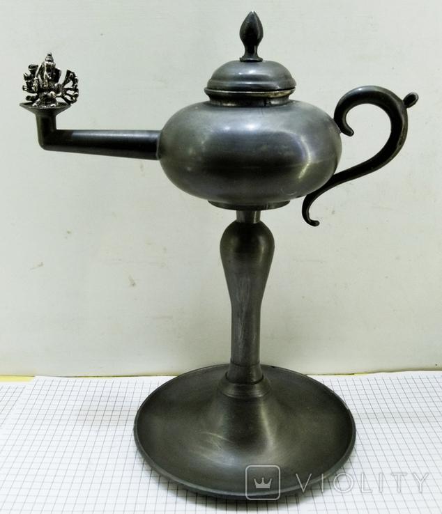 Старинная Масляная лампа Германия, олово, с фигуркой Ганеша, фото №6