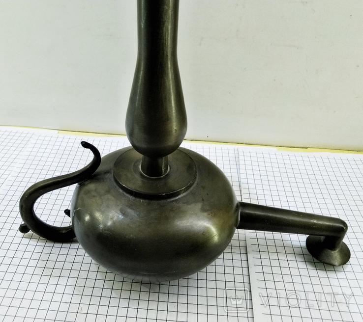 Старинная Масляная лампа Германия, олово, с фигуркой Ганеша, фото №9
