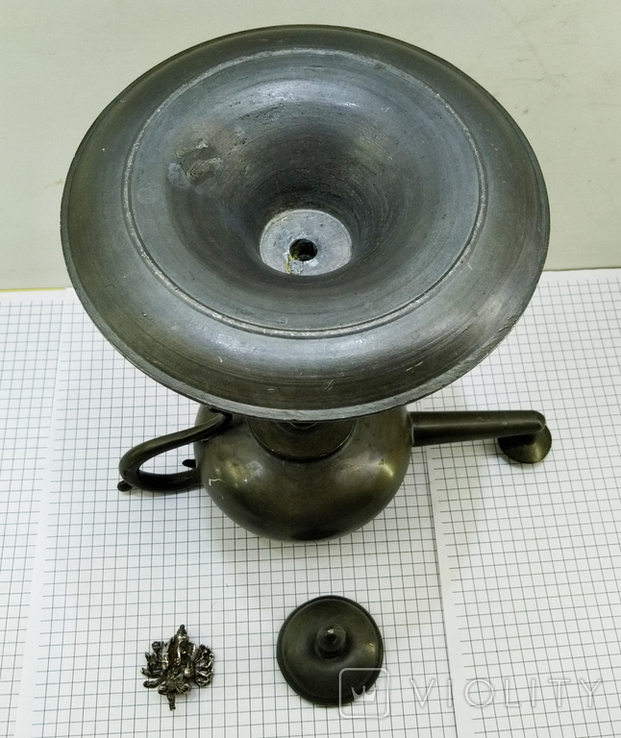 Старинная Масляная лампа Германия, олово, с фигуркой Ганеша, фото №10
