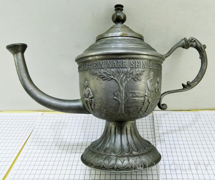 Чайник - заварник Германия. Олово. Клеймо, фото №3