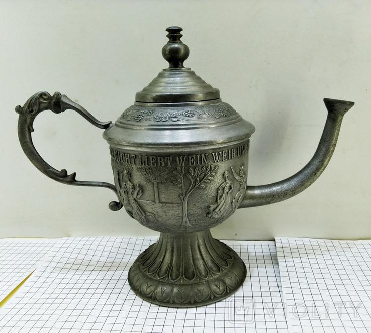 Чайник - заварник Германия. Олово. Клеймо, фото №6
