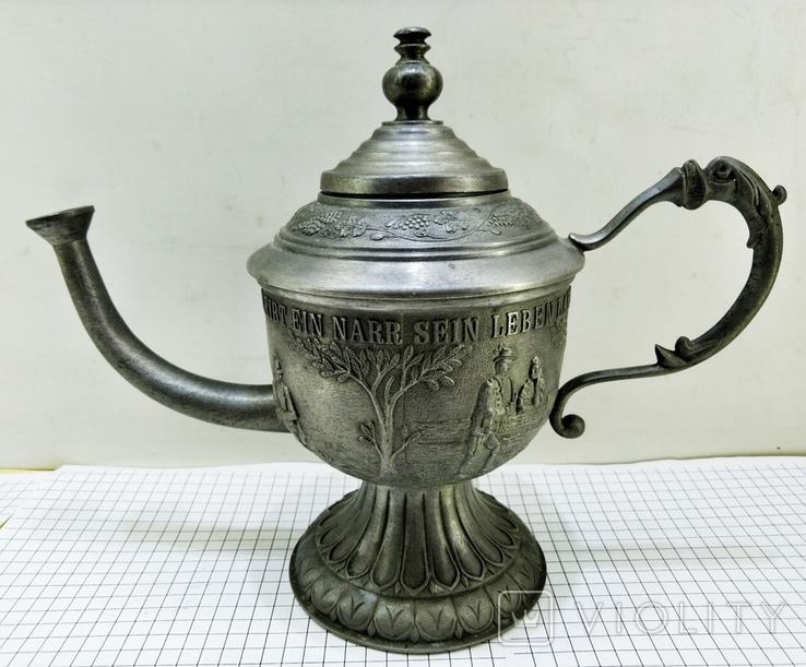 Чайник - заварник Германия. Олово. Клеймо, фото №7