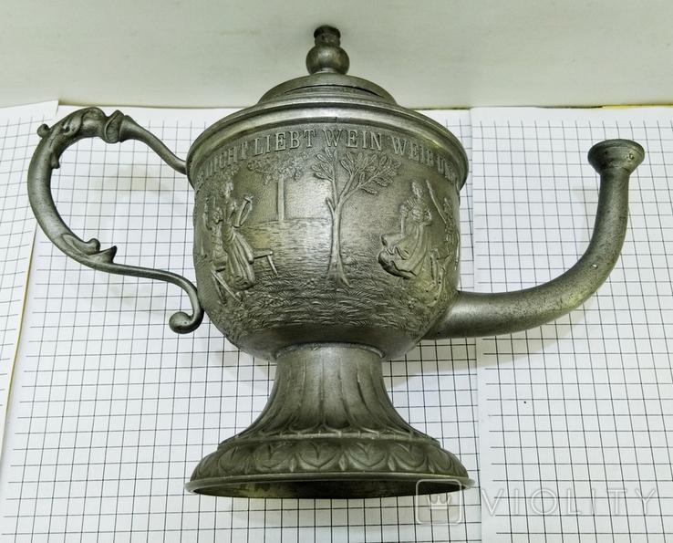 Чайник - заварник Германия. Олово. Клеймо, фото №11