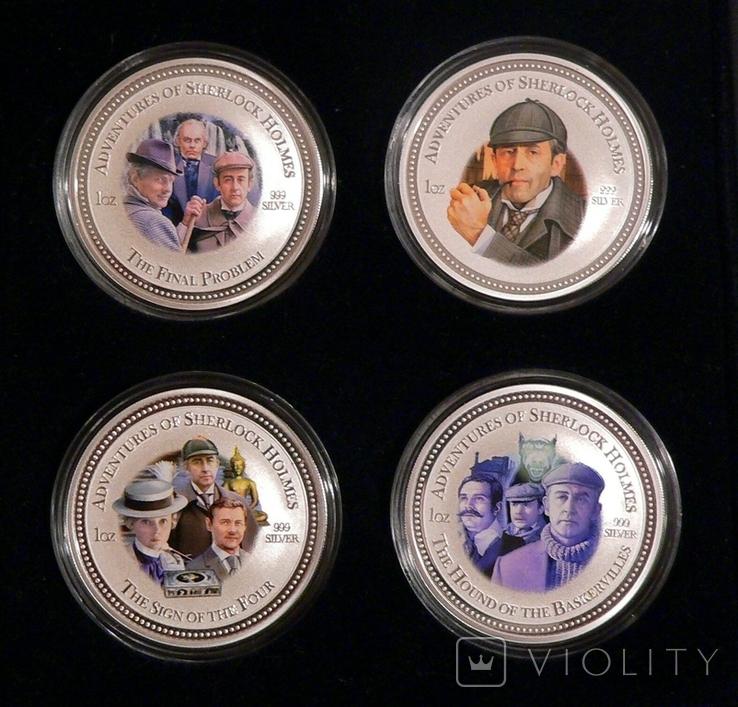 """Набор из 4 монет """"Шерлок Холмс"""" - 4 унции, серебро 999 - ПОЛНЫЙ КОМПЛЕКТ, фото №2"""