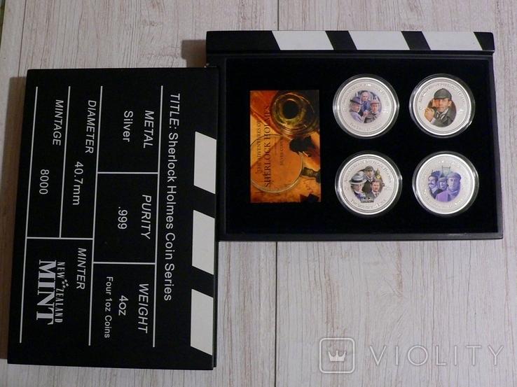 """Набор из 4 монет """"Шерлок Холмс"""" - 4 унции, серебро 999 - ПОЛНЫЙ КОМПЛЕКТ, фото №3"""