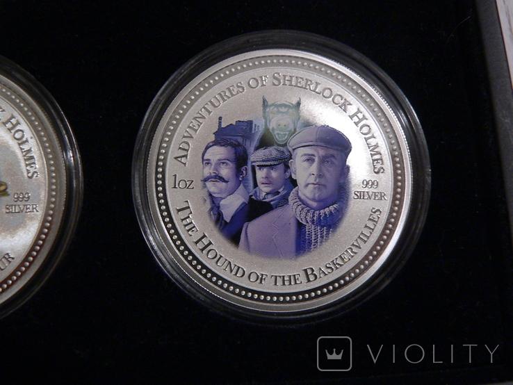 """Набор из 4 монет """"Шерлок Холмс"""" - 4 унции, серебро 999 - ПОЛНЫЙ КОМПЛЕКТ, фото №5"""
