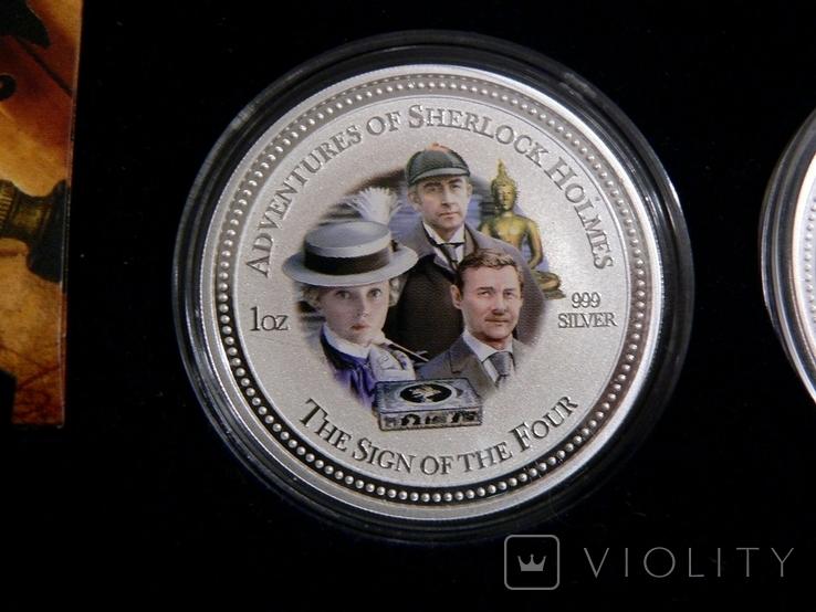 """Набор из 4 монет """"Шерлок Холмс"""" - 4 унции, серебро 999 - ПОЛНЫЙ КОМПЛЕКТ, фото №6"""
