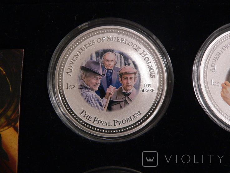 """Набор из 4 монет """"Шерлок Холмс"""" - 4 унции, серебро 999 - ПОЛНЫЙ КОМПЛЕКТ, фото №7"""