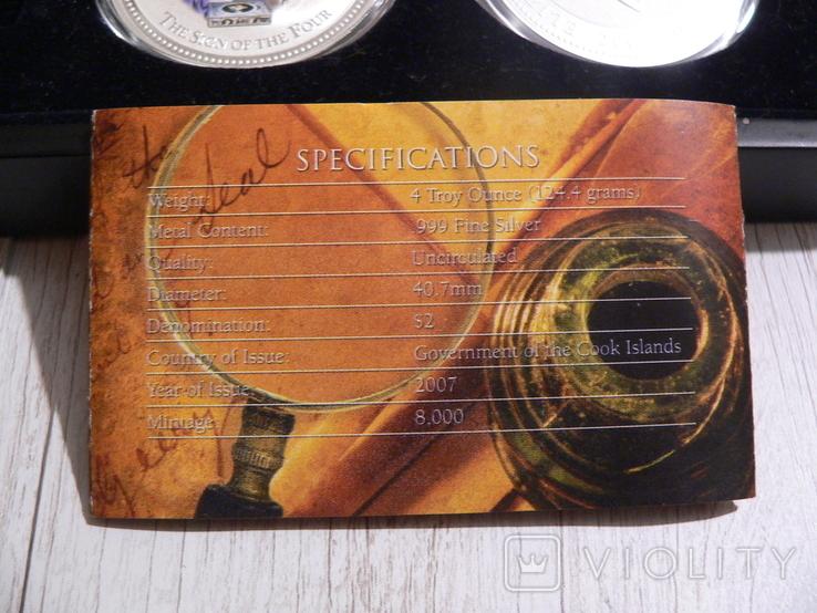 """Набор из 4 монет """"Шерлок Холмс"""" - 4 унции, серебро 999 - ПОЛНЫЙ КОМПЛЕКТ, фото №9"""