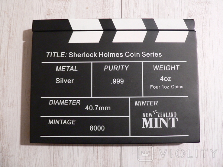 """Набор из 4 монет """"Шерлок Холмс"""" - 4 унции, серебро 999 - ПОЛНЫЙ КОМПЛЕКТ, фото №10"""