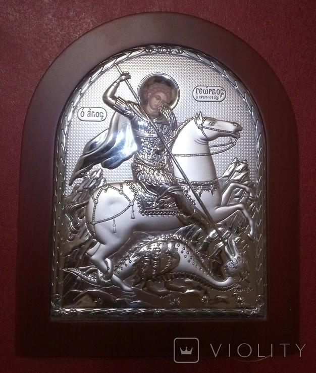 """Икона в серебряном окладе """"Георгий Победоносец побеждающий Змия"""" Греция, фото №3"""