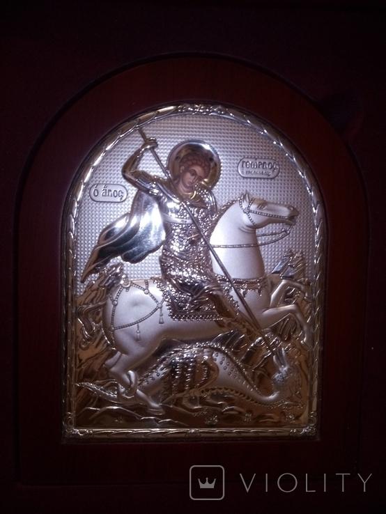 """Икона в серебряном окладе """"Георгий Победоносец побеждающий Змия"""" Греция, фото №11"""