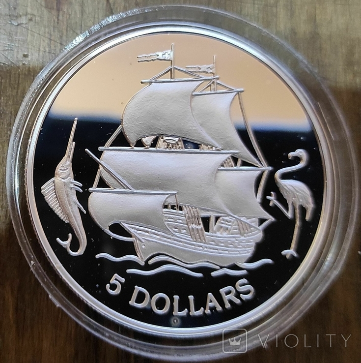 Багамские острова 5 долларов 1993 г. Серебро. Корабль, фото №2