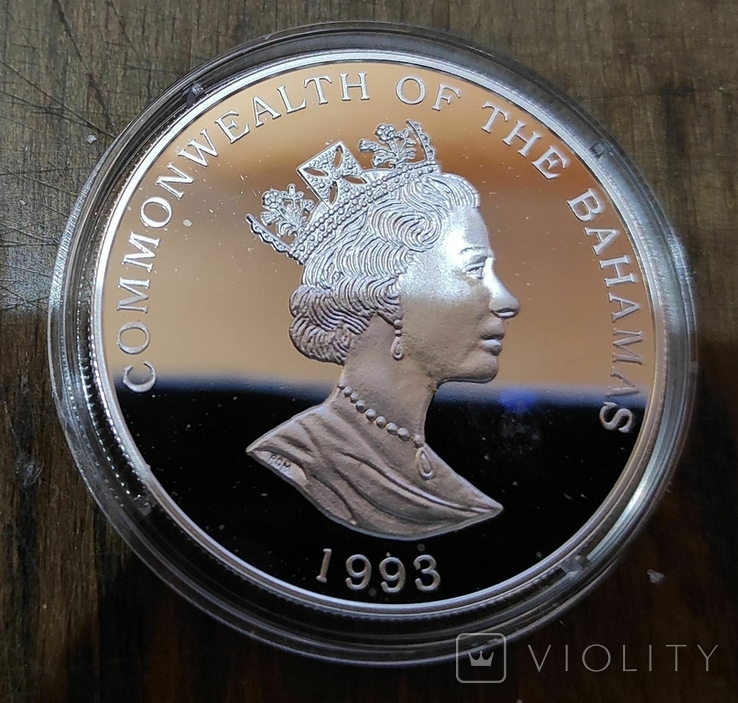 Багамские острова 5 долларов 1993 г. Серебро. Корабль, фото №3
