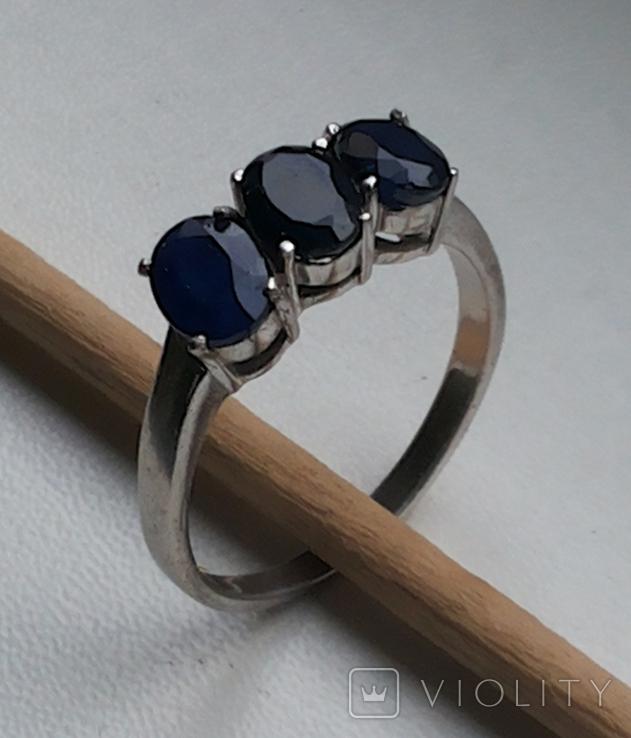 Кольцо серебро 925 с сапфирами, фото №2