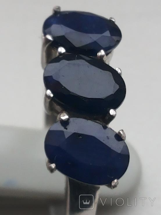 Кольцо серебро 925 с сапфирами, фото №7