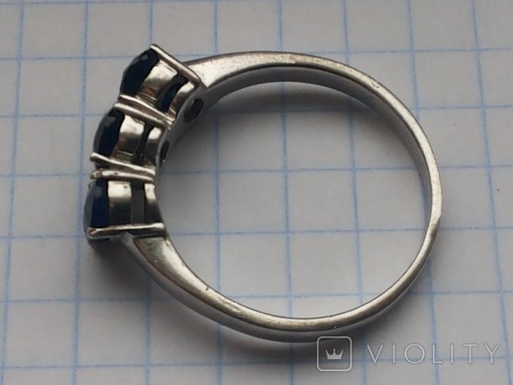 Кольцо серебро 925 с сапфирами, фото №8