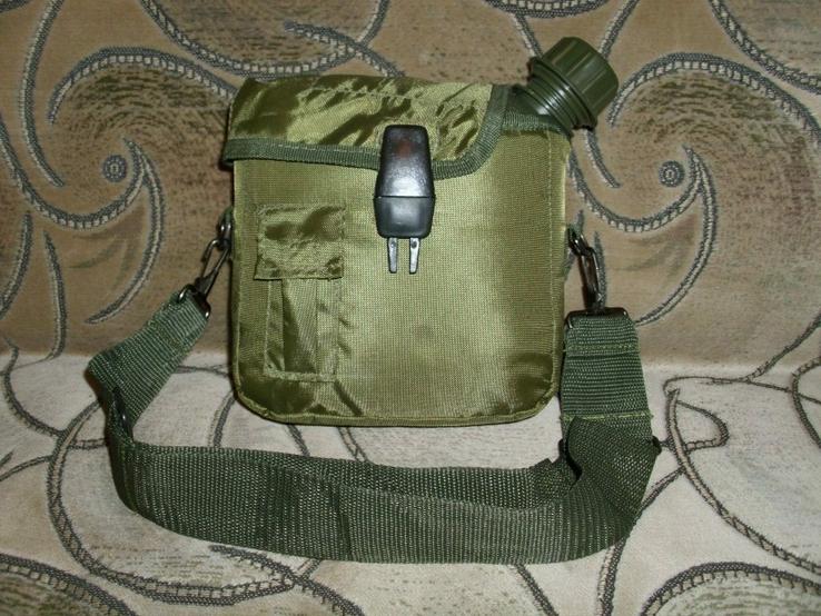 Фляга пластиковая USA 2QT с чехлом олива и ремешком через плечо (Mil-Tec, Германия), фото №4