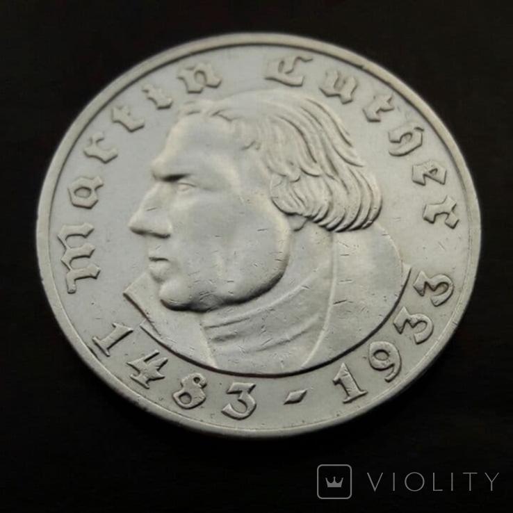 2 марки 1933 (E) Мартин Лютер, фото №2