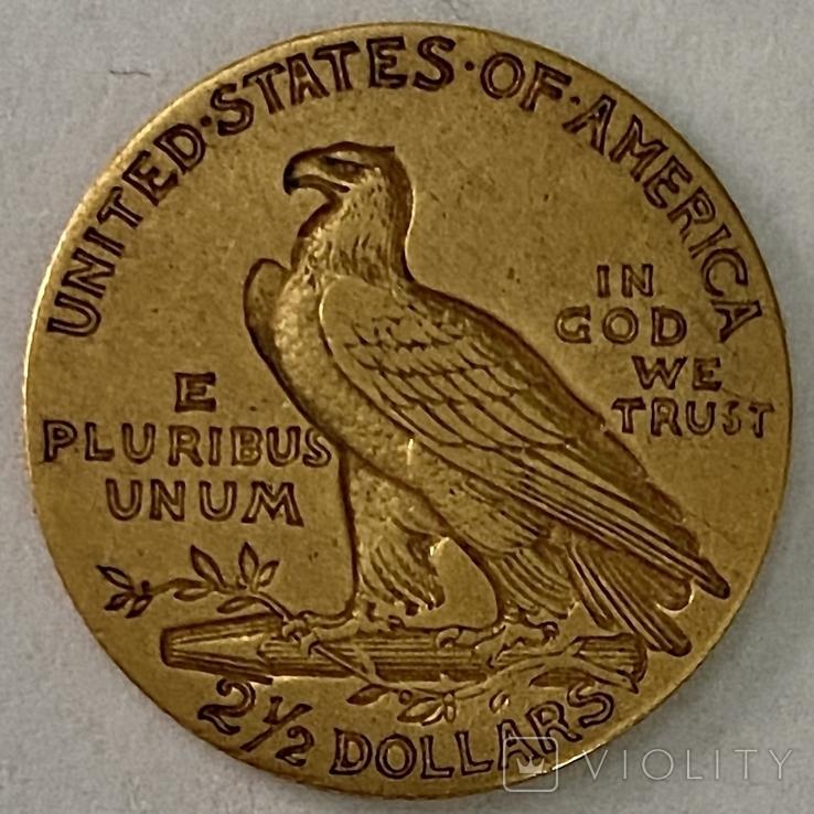 2,5 доллара. 1911. США (золото 900, вес 4,12 г), фото №4