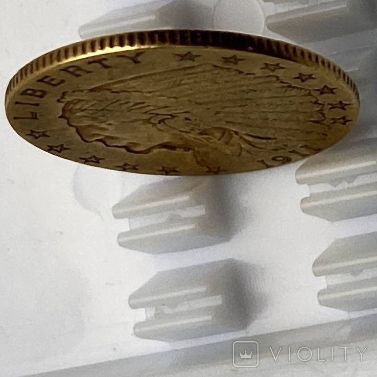 2,5 доллара. 1911. США (золото 900, вес 4,12 г), фото №8