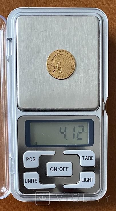 2,5 доллара. 1911. США (золото 900, вес 4,12 г), фото №9