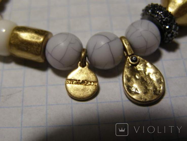 Браслет стеклянные бусины камень, фото №4