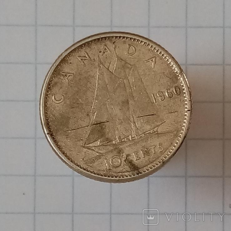 10 центов 1960г Канада серебро, фото №3