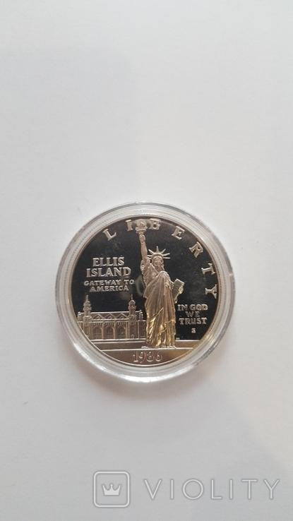 1 доллар США 1986 года. Статуя Свободы, серебро, фото №2