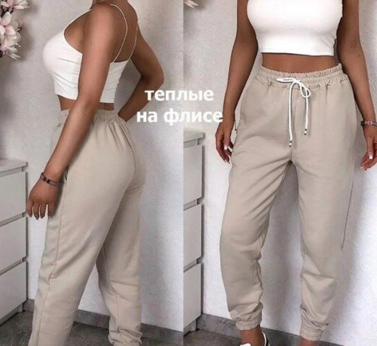 Штаны женские теплые спортивные джогеры на флисе бежевые, фото №3