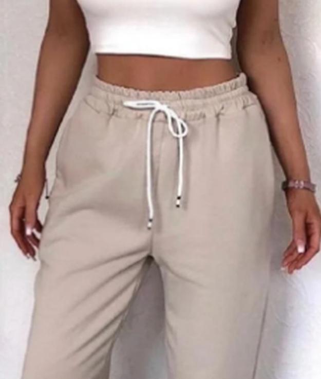 Штаны женские теплые спортивные джогеры на флисе бежевые, фото №5