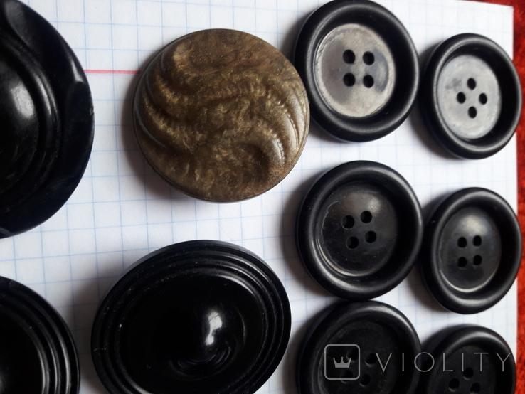 Винтажные пуговицы на жупан корсетку верхнюю одежду ( бакелит) 21 шт, фото №7
